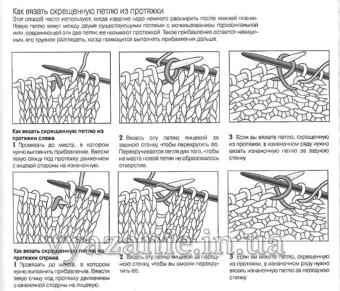 Вязание спицами скрещенной лицевая и изнаночная петли